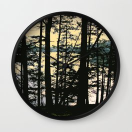 EARLY WINTER DUSK AT MOUNTAIN LAKE ON ORCAS ISLAND Wall Clock