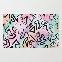 Abstract Modern Graffiti Watercolor Brushstrokes Rug