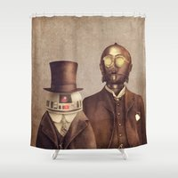 robots Shower Curtains featuring Victorian Robots  by Terry Fan