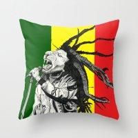 marley Throw Pillows featuring Rastalion Marley by Paula Savage