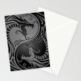 Gray and Black Yin Yang Dragons Stationery Cards