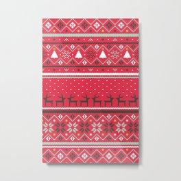 Festive FairIsle - Red Metal Print