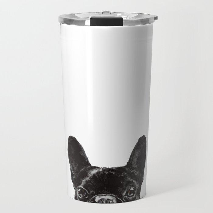 Peeking French Bulldog Travel Mug