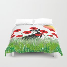 Whimsical Black Cat and Red Poppies Duvet Cover