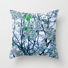 Cherry Blossom (Blue) Throw Pillow