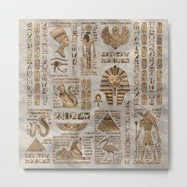 Egyptian hieroglyphs and deities -Vintage Gold Metal Print
