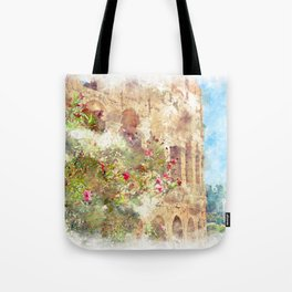 blooming rhododendron on a background of Colosseum Tote Bag