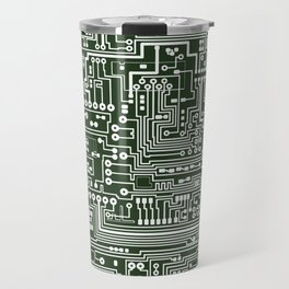 Circuit Board // Green & White Travel Mug