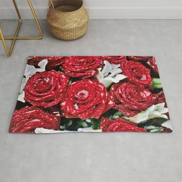 Bouquet of red roses in the rain Rug