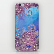 Magnolia & Magenta Floral on Watercolor iPhone & iPod Skin