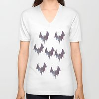 bats V-neck T-shirts featuring Space bats by Caio Trindade