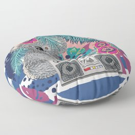 Grey koala with boombox and tropical leaves Floor Pillow