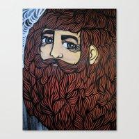beard Canvas Prints featuring beard by Deerabigale