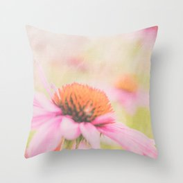 Pink Coneflower Revels Throw Pillow