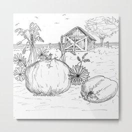 Harvest Sketch Metal Print