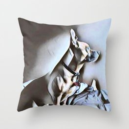Dog Lovers - Portrait of a Pit Bull German Shepherd Cross Breed puppy in Watercolor Throw Pillow