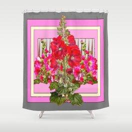 MODERN ART RED & PINK  HOLLYHOCKS BOTANICAL  PATTERNS Shower Curtain