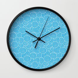 Chinese Spirals Pattern   Abstract Waves   Swirl Patterns   Circles and Swirls   Turquoise and White Wall Clock