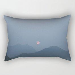 Moonrise in the Hazy Rockies Rectangular Pillow