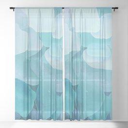 Sea Glass Ocean Blue Sheer Curtain