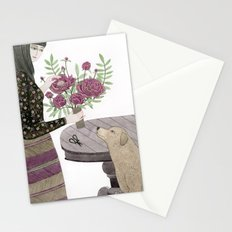 Girl, her Dog and bouquet of Flowers Stationery Cards