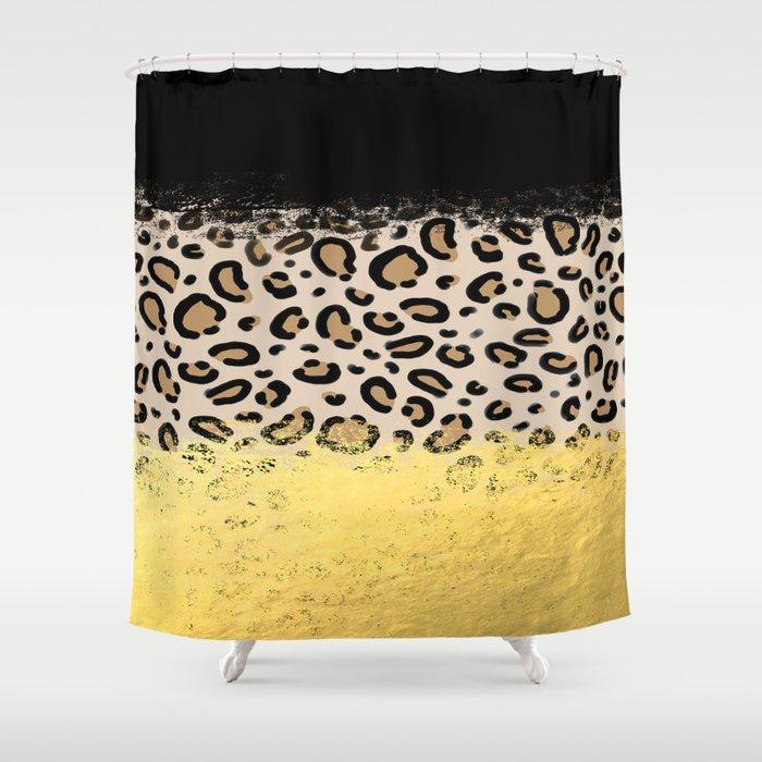 Wilder - black gold foil cheetah print animal pattern spots dots ...