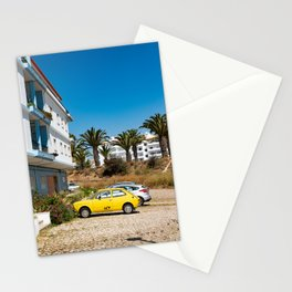 Sunny old skool yellow vintage car | Palmtree Algarve Portugal | Fine art travel photography | Stationery Cards