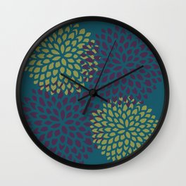 Burgundy Lime Blossoms Wall Clock