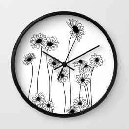 Minimal line drawing of daisy flowers Wall Clock