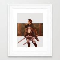 attack on titan Framed Art Prints featuring Haikyuu!! Attack on Titan Crossover: Captain Asahi by JBadgr