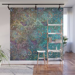 Pastel  Turquoise watercolor  OM symbol pattern Wall Mural