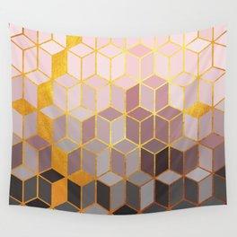 Hidden Gold Cubes Wall Tapestry