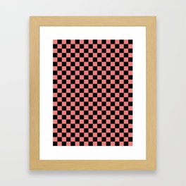 Black and Coral Pink Checkerboard Framed Art Print