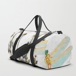 Chamomile Herb, Dragonfly Bumble Bee Botanical painting, Cottage style Duffle Bag