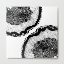 Gray Black White Agate Glitter Glamor #2 #gem #decor #art #society6 Metal Print