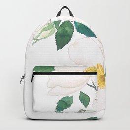 white wild Rosa rubiginosa watercolor Backpack