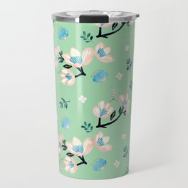 Be who you want to be - pastel flowers in mint Travel Mug