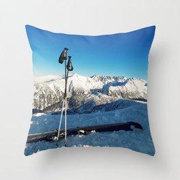 Ski on peak Throw Pillow