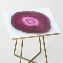 Strawberry Pink Agate Slice Side Table