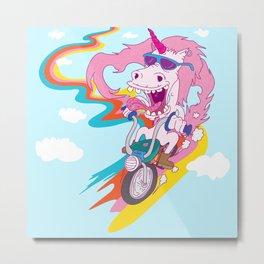 Unicorn Biker Metal Print