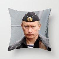 putin Throw Pillows featuring Putin seaman. by Mikhail Zhirnov
