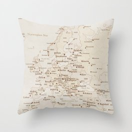Vintage style map of Europe - order PRINTS in sizes L and XL only Throw Pillow