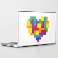 tetris Laptop & iPad Skins featuring Tetris Heart by Shannon's Sketchfest