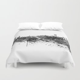 Abu Dhabi skyline in black watercolor Duvet Cover