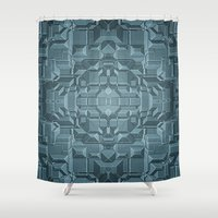 sci fi Shower Curtains featuring Future Sci Fi City by Phil Perkins