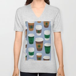 Hot Coffee Cup Party in Chambray Blue Unisex V-Neck