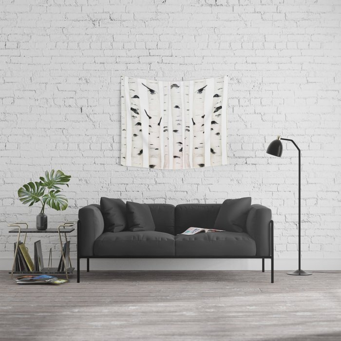 birch  watercolor Wall Tapestry
