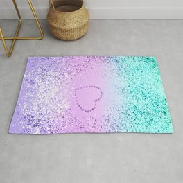 Sparkling UNICORN Girls Glitter Heart #9 #shiny #pastel #decor #art #society6 Rug