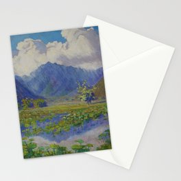 A Shower in the Mountains & Lily Pads, Manoa Valley, Hawaii landscape by Anna Woodward Stationery Cards