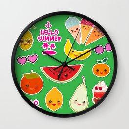 Hello Summer Persimmon, pear, pineapple, cherry smoothie, ice cream cone, sunglasses. Kawaii Wall Clock